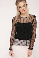 Черная женская блузка с рукавом сетка в горошек 042