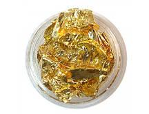 Фольга жатая в банке для ногтей (поталь) золотая
