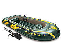 Четырехместная надувная лодка Intex 68351 Seahawk 4 Set, 351 х 145 х 48 см, с веслами и насосом