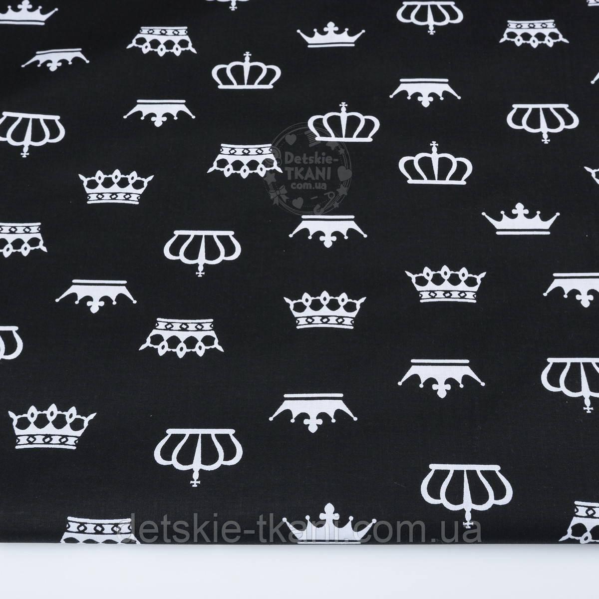 Ткань хлопковая с белыми коронами на чёрном фоне (№ 1285а)