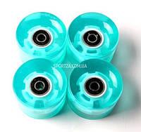 Набор колес бирюзовые для Penny Board с подшипниками светящиеся колеса Самая дешевая цена в Украине на колеса для Fish Skateboard по ценам