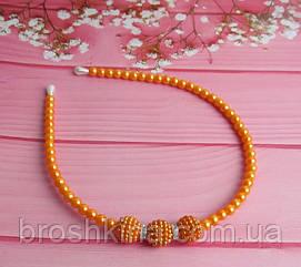 Обруч для волос из бусин со стразами оранжевый