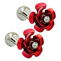 Запонки цветок Хрустальная красная роза - для женщин, любящих красоту и элегантность