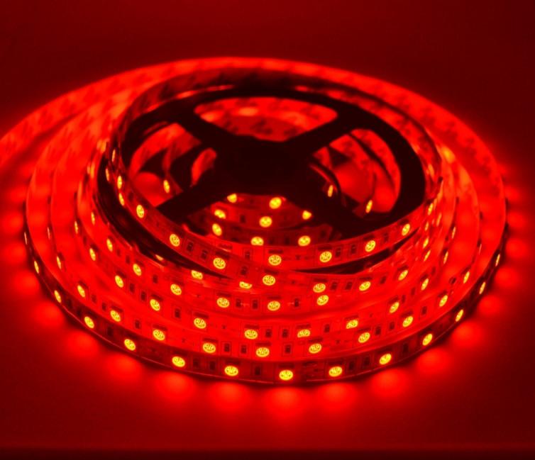 Светодиодная лента LED влагозащищённая, 12V, SMD5050, IP65, 60 д/м, красный