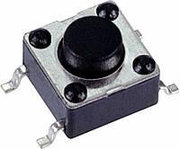 INT 1102S50AP Переключатель тактовый SMD, 6,0х6,0 мм, высота 5,0 мм, нажатие 160 гс, 100 000 циклов, 12 VDC 50 мА 100 мОм, межвыводное 9,0 мм