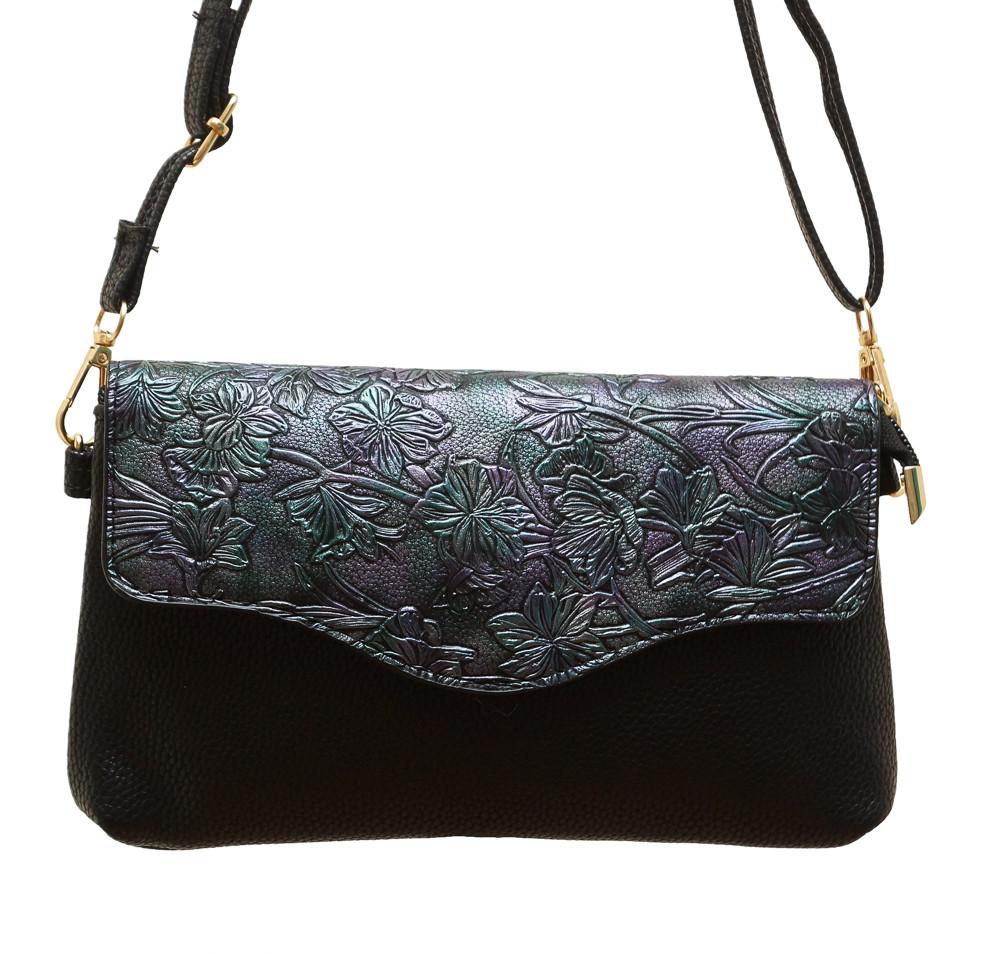 """Женская маленькая сумочка -клатч через плечо """"Цветы"""" 2119/2"""