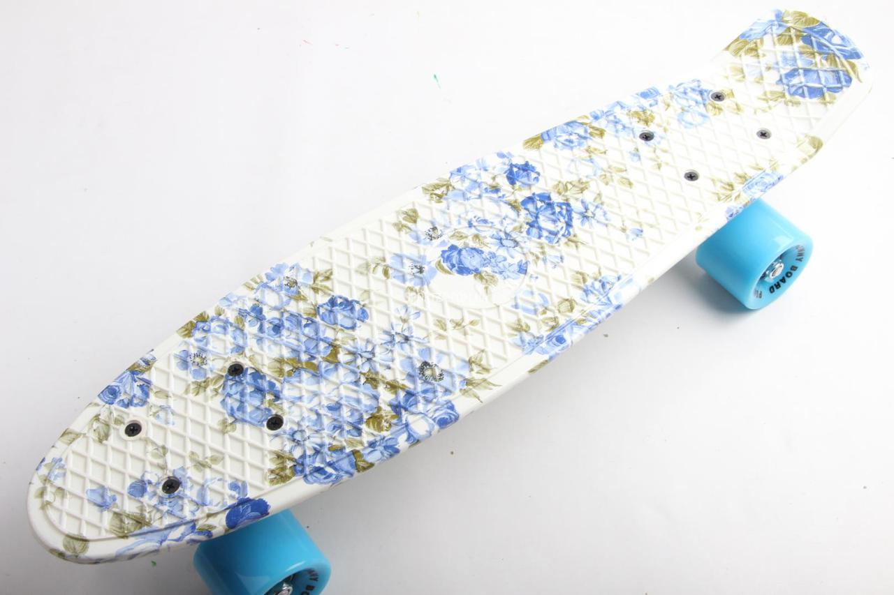 cdfe1a34c526 Скейт Пенни Борд Print, Penny Board Original 22 c Рисунком Blue Rose ...