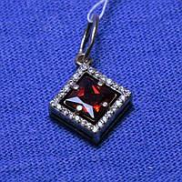 Серебряный кулон с красным куб. цирконием 31096к, фото 1