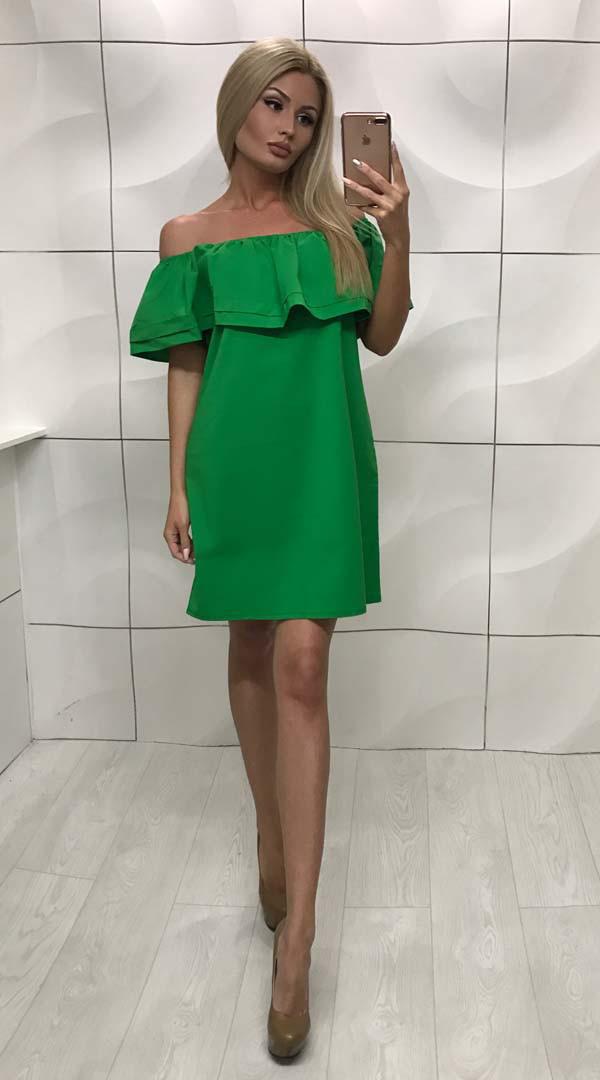 Платье женское с открытыми плечами свободного фасона ft-253 зеленое