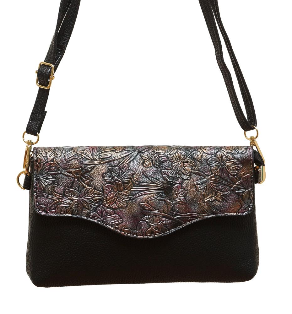 """Женская маленькая сумочка-клатч через плечо """"Цветы"""" 2119/3"""