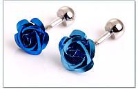 Запонки цветок  Синяя роза - для девушек, женщин, мужчин, выпускников , свадеб, торжественных мероприятий, фото 1