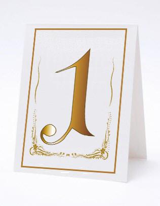 Номерок под номерки на свадебный стол в золотистых тонах