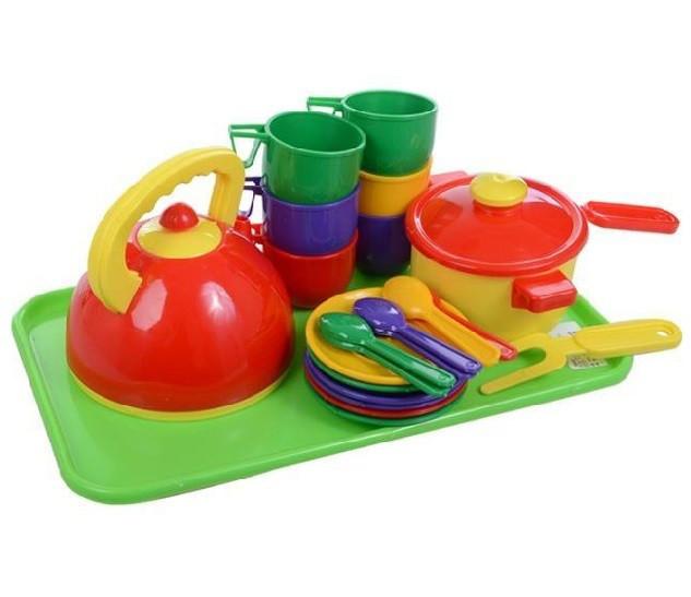 Набір посуду з чайником, каструлею та підносом 23 предмети, Юніка 0309