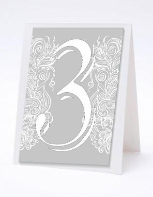 Номерок под номерки на свадебный стол в серебристых тонах