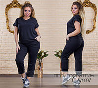 56389b1ae74 Женский трикотажный летний спортивный костюм двойка бриджи + футболка.  Большого размера р-48