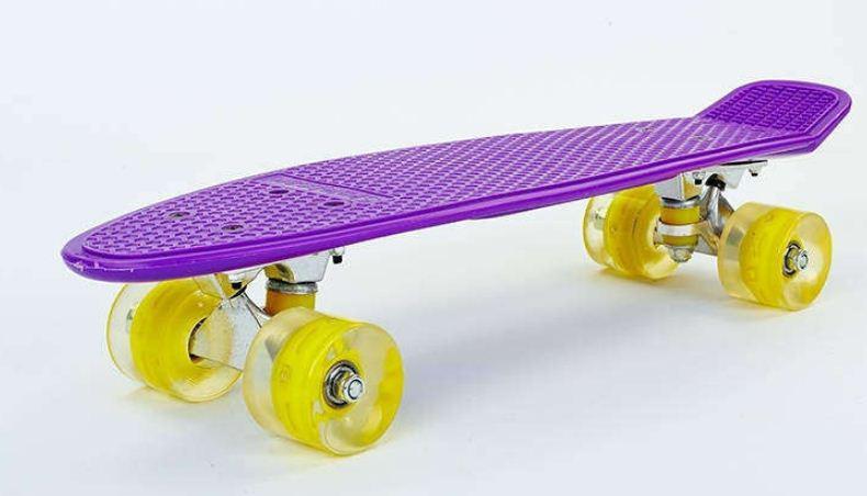Пенни Борд фиолетово-желтый LED WHEELS светящиеся колеса