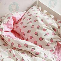 Детское постельное белье из сатина Мороженки Pink