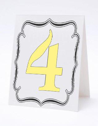 Номерок под номерки на свадебный стол в черно-белых тонах