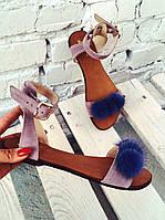 Женские босоножки сандалии с мехом норки больших размеров 41 42 кожаные и замшевые разных цветов производитель