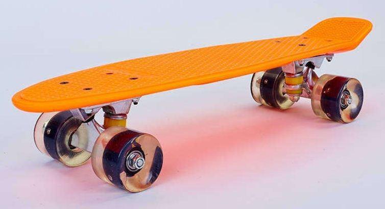 Пенни Борд оранжево-черный LED WHEELS со светящимися колесами