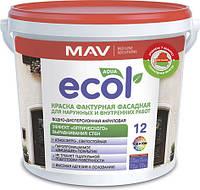 Краска MAV ECOL 12 фактурная для наружных и внутренних работ 11 литров
