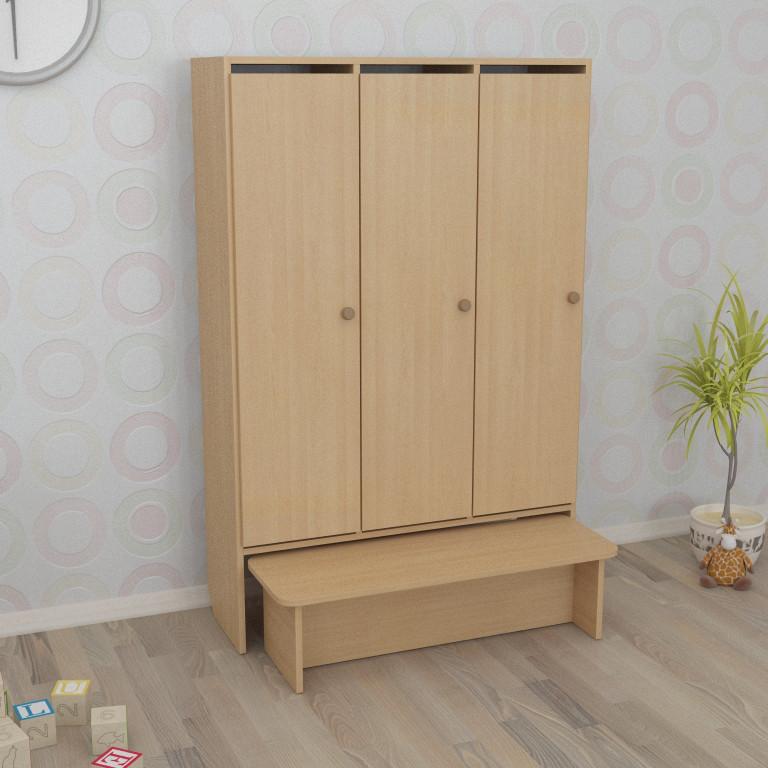Шкаф детский трёхсекционный с лавкой (920*320*1400h)