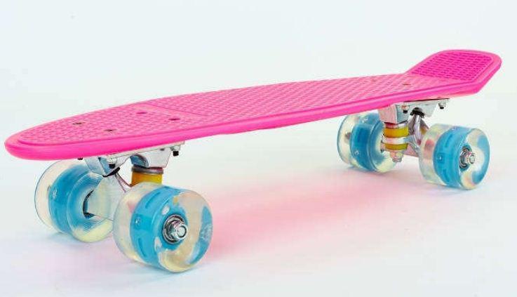 Пенни Борд розово-голубой LED WHEELS