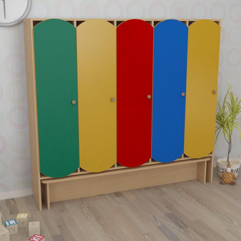 Шкаф детский пятисекционный с лавкой цветной (1521*320*1394h)
