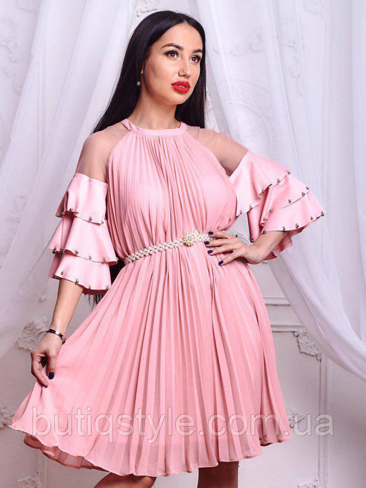 63c153dd8f8a5b7 Изысканное женское платье шифон рукава с воланом, сетка + пояс из жемчуга  белое, розовое