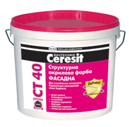 Краска Ceresit CT 40 (Церезит) акриловая структурная 10л