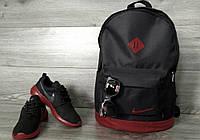 Стильный городской спортивный рюкзак Nike, цвет черный с бордовым
