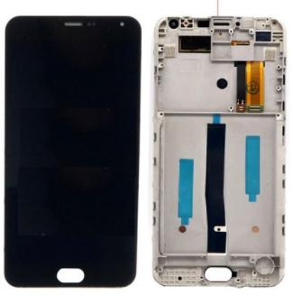 Дисплей (экран) для Meizu M2 Note с сенсором (тачскрином) и рамкой черный желтый шлейф Оригинал