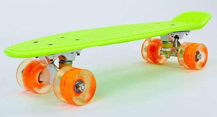 Пенни Борд салатово-оранжевый LED WHEELS со светящимися колесами