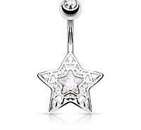 Серьга для пирсинга стальная «Звезда» Spikes N16376-C