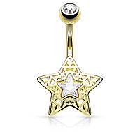 Пирсинг в пупок позолоченный «Звезда» Spikes N16376-GDC