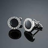 Запонки Вінтаж в ретро стилі, чорний кристал з візерунком по краях для ділових жінок, фото 2