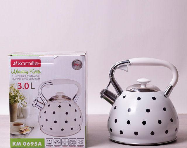 Чайник белый в черный горошек 3 литра kamille 0695 an со свистком