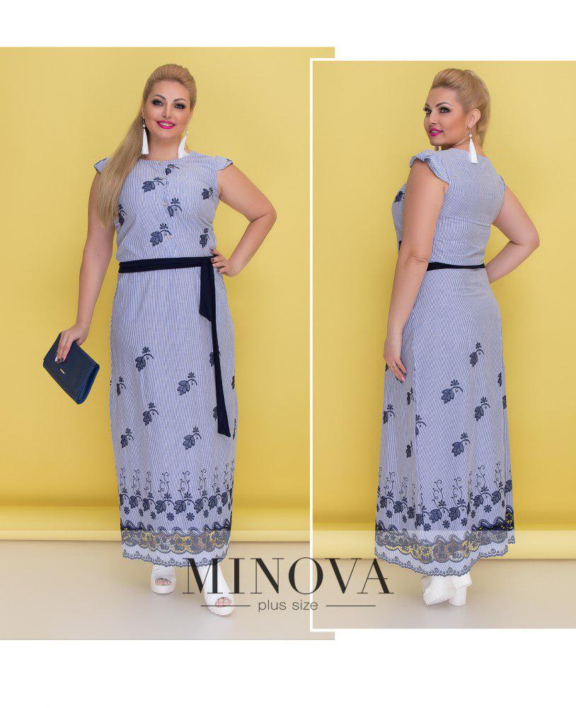 796cca7ed74762b Длинное летнее платье большого размера ТМ Минова Размер: 48, 50, 52, 54