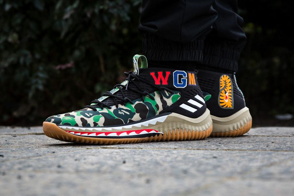 кроссовки Bape X Adidas Dame 4 Camo Green продажа цена в киеве