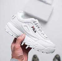 "Женские кроссовки Fila Disruptor II ""White"". Живое фото (Люкс реплика ААА+)"