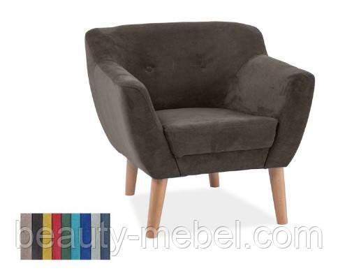 Дизайнерское мягкое кресло Signal Bergen 1, темно-коричневое