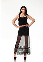 Прозрачная макси юбка с кружевом. Ю095, фото 1