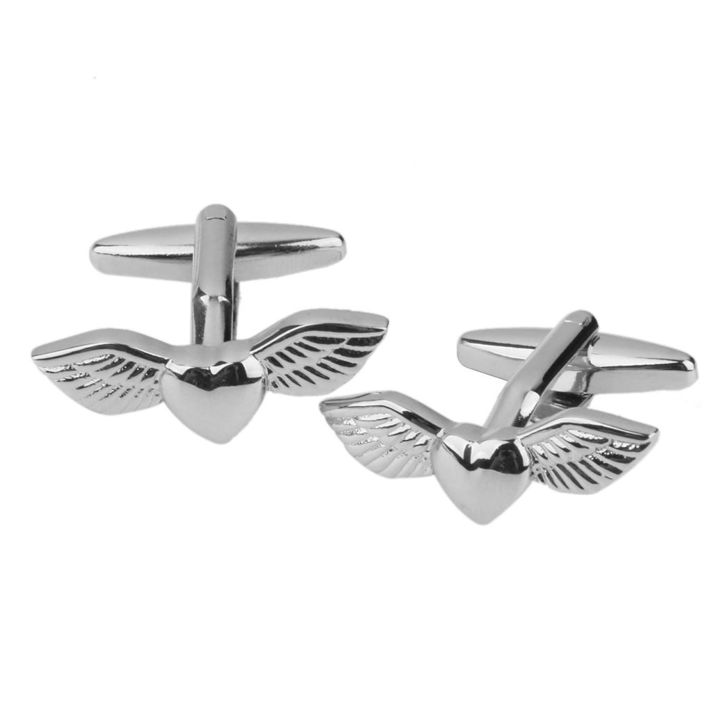 Запонки Серебряное сердце с крыльями для влюбленных ,жаждущих летать