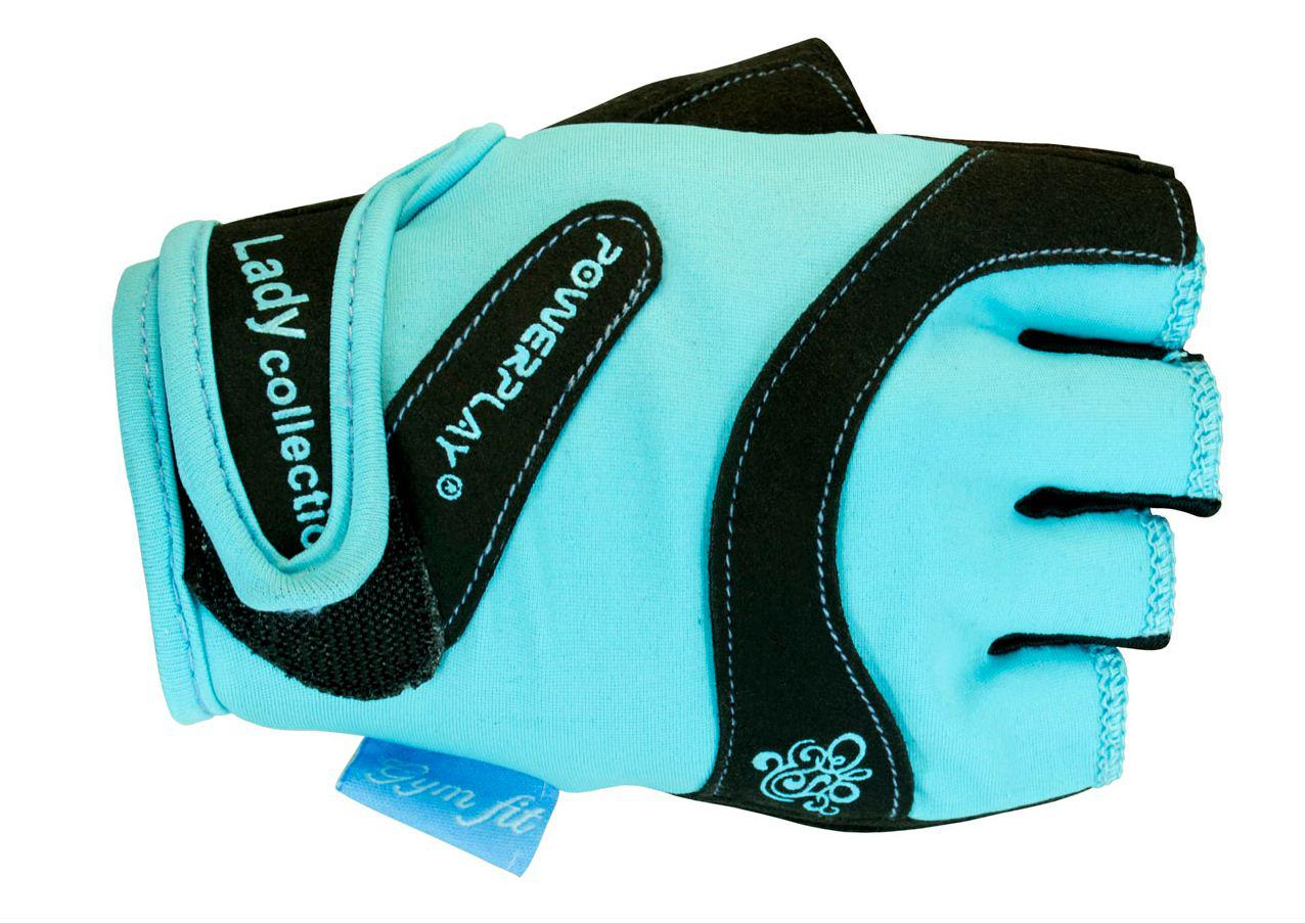 Женские перчатки  для тринажерного зала и фитнеса PowerPlay 1729А голубые