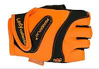 Перчатки женские для тринажерного зала и фитнеса PowerPlay 1729D оранжевые