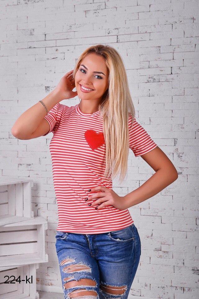 2309f814bd9 Женская футболка кофта в полоску морячка короткий рукав р42-46 ...