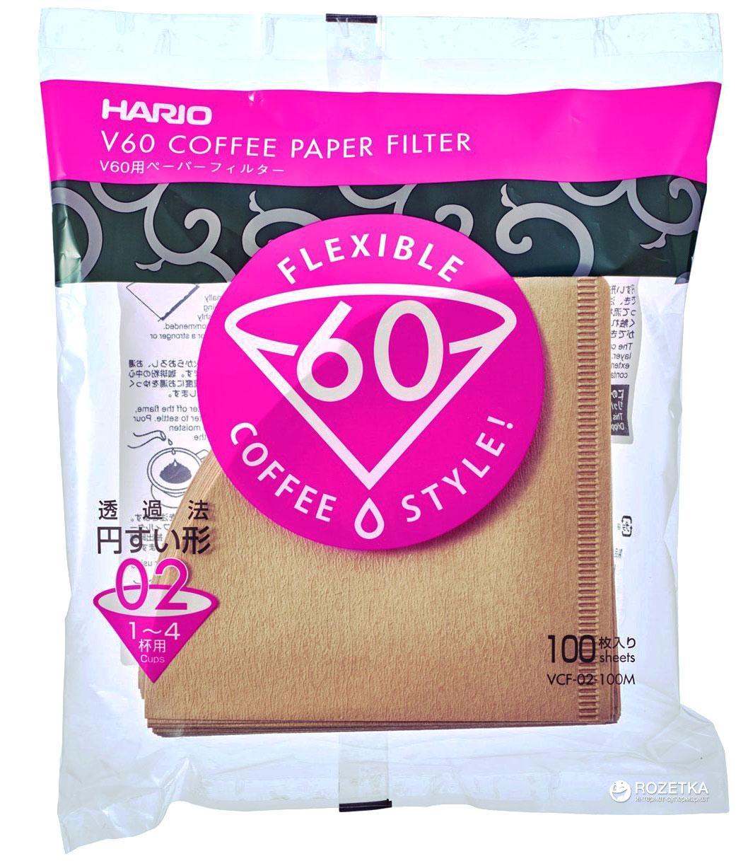Бежевые фильтры Hario для пуроверафильтр для пуровера V60 02 |100 шт | крафтовые