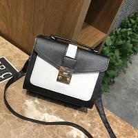 Маленькая женская двухцветная сумка черная, фото 1