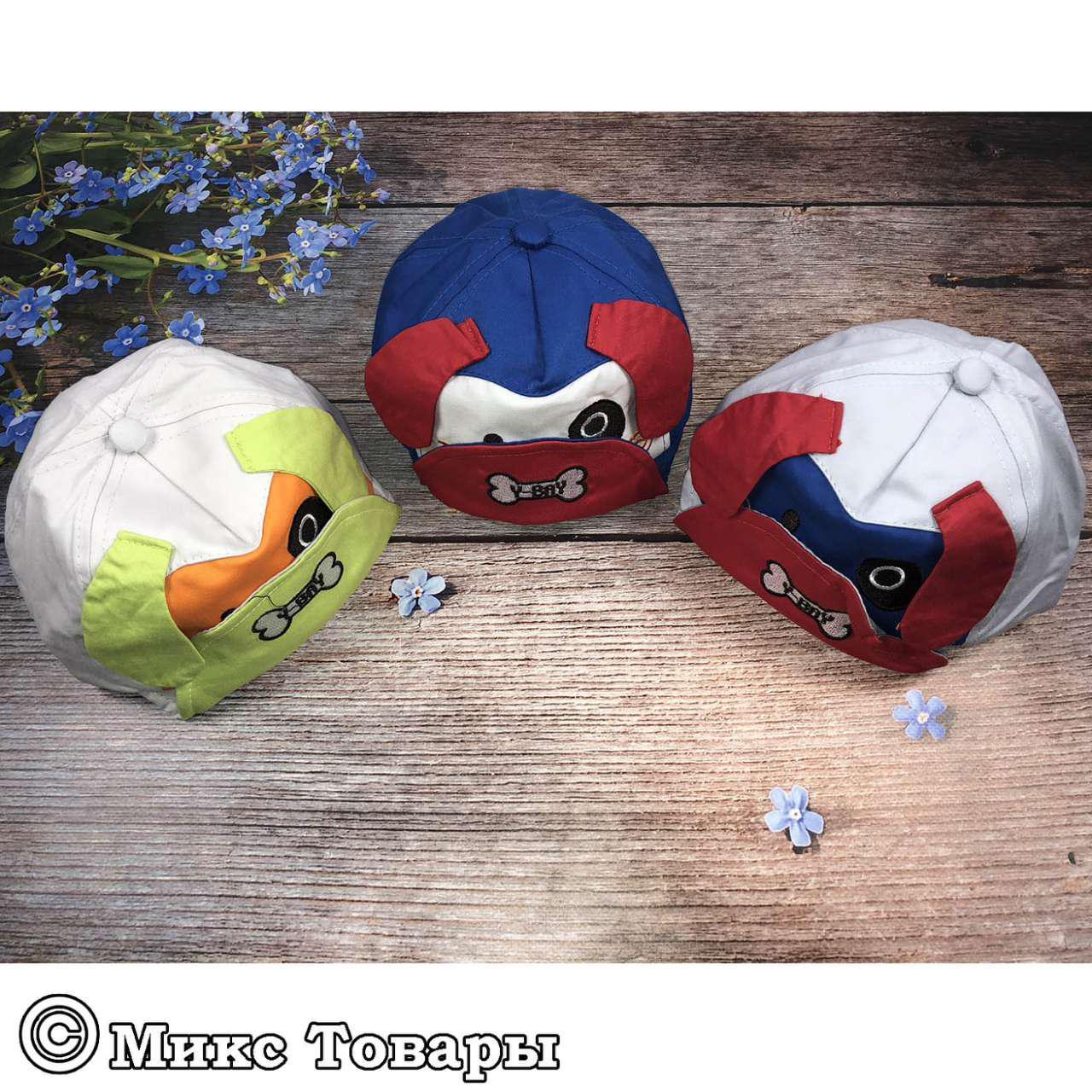Чепчики с собачкой для малышей (объём 48- 50 см) (1039)
