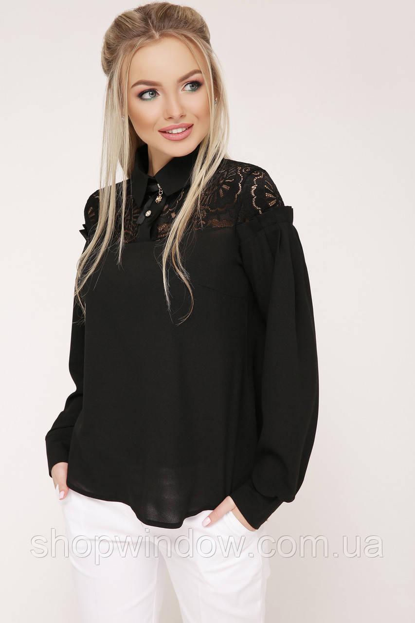 353f176330a Черная блузка с длинным рукавом. Молодежные блузки. Блуза нарядная ...
